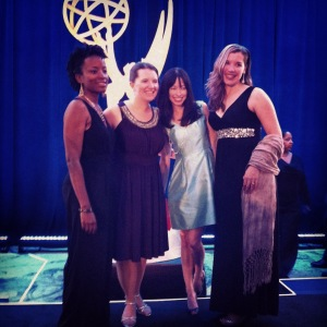 Mid-Atlantic Emmy Awards! The ladies posing on the Emmy stage.